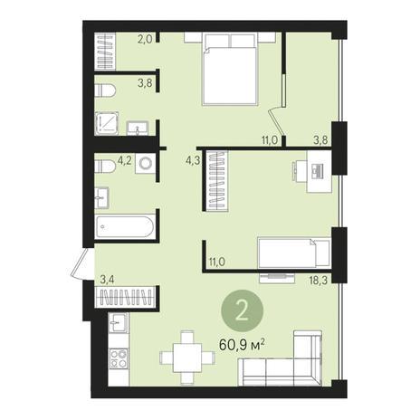 Вариант №3013, 3-комнатная квартира в жилом комплексе Дунаевский