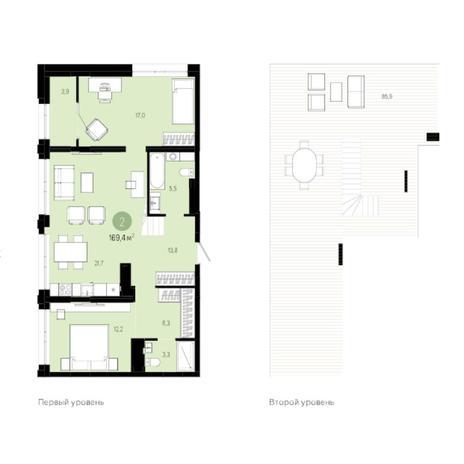 Вариант №6013, 3-комнатная квартира в жилом комплексе