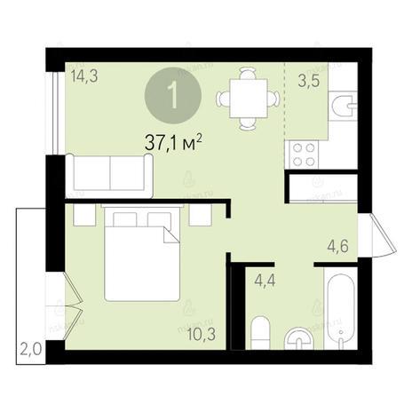 Вариант №2654, 2-комнатная квартира в жилом комплексе Чистая Слобода