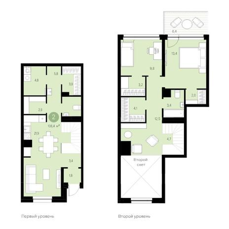 Вариант №4691, 3-комнатная квартира в жилом комплексе