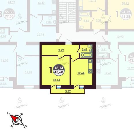 Вариант №425, 1-комнатная квартира в жилом комплексе Ключевой