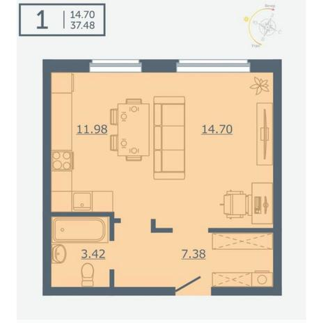 Вариант №4750, 1-комнатная квартира в жилом комплексе
