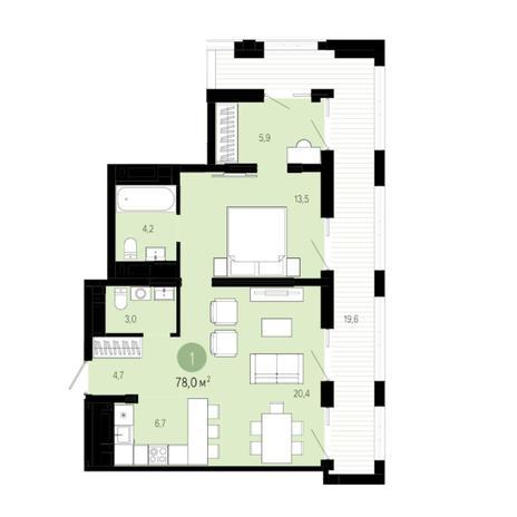 Вариант №6035, 2-комнатная квартира в жилом комплексе
