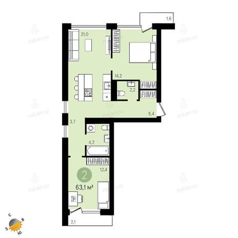 Вариант №2406, 2-комнатная квартира в жилом комплексе Европейский Берег
