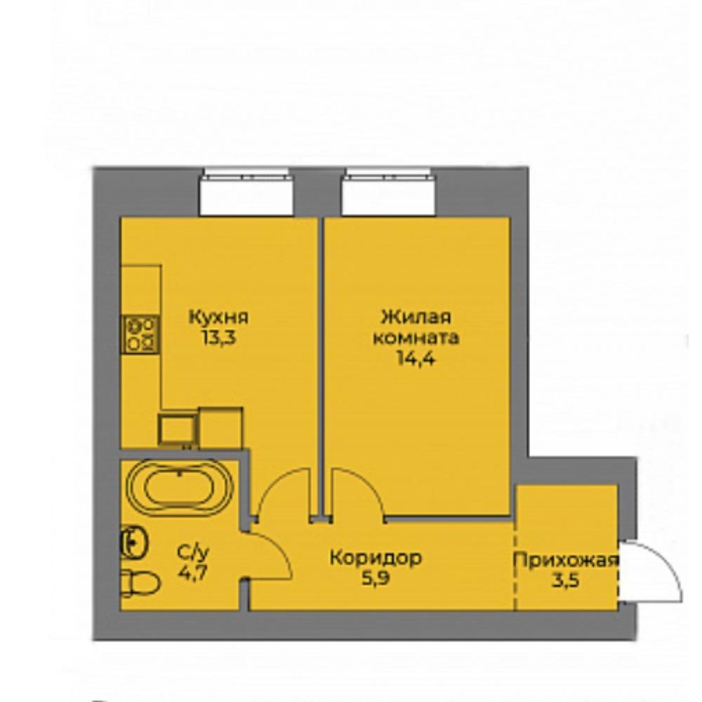 Планировка 1-комнатная площадью 41.8 м<sup>2</sup> в ЖК Эскимо