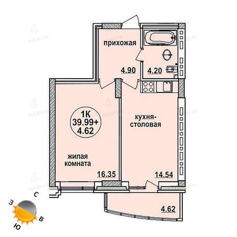 Вариант №621, 2-комнатная квартира в жилом комплексе Заельцовский