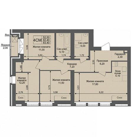 Вариант №3796, 4-комнатная квартира в жилом комплексе