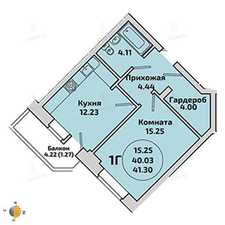Вариант №1965, 1-комнатная квартира в жилом комплексе Приозерный