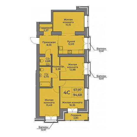 Вариант №3562, 4-комнатная квартира в жилом комплексе