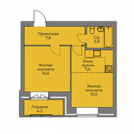Вариант №4414, 2-комнатная квартира в жилом комплексе Аквамарин