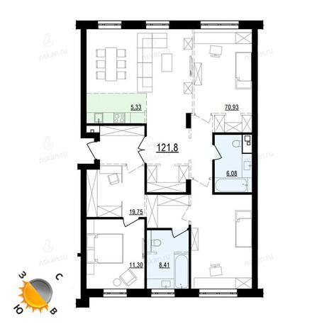 Вариант №873, 4-комнатная квартира в жилом комплексе Жуковка
