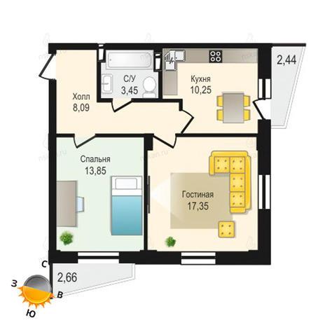Вариант №1336, 2-комнатная квартира в жилом комплексе Крымский