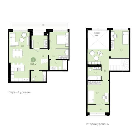 Вариант №6024, 4-комнатная квартира в жилом комплексе