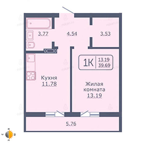 Вариант №2032, 1-комнатная квартира в жилом комплексе