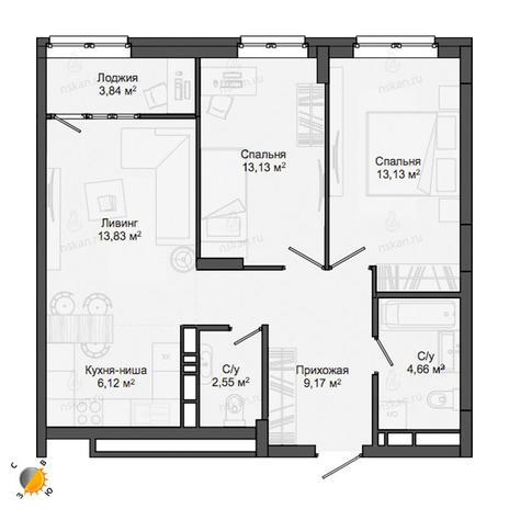 Вариант №2135, 3-комнатная квартира в жилом комплексе Северная корона