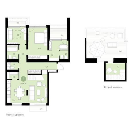 Вариант №4646, 3-комнатная квартира в жилом комплексе Европейский Берег