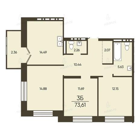 Вариант №2573, 3-комнатная квартира в жилом комплексе