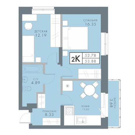 Вариант №2833, 2-комнатная квартира в жилом комплексе Традиции
