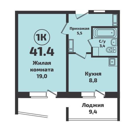 Вариант №4933, 1-комнатная квартира в жилом комплексе