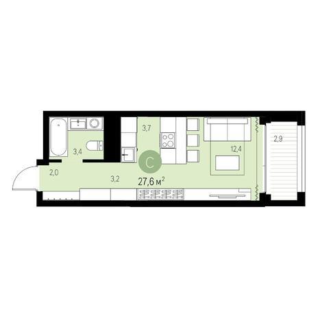 Вариант №5458, 1-комнатная квартира в жилом комплексе