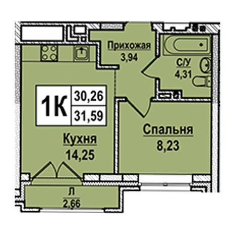 Вариант №2953, 1-комнатная квартира в жилом комплексе