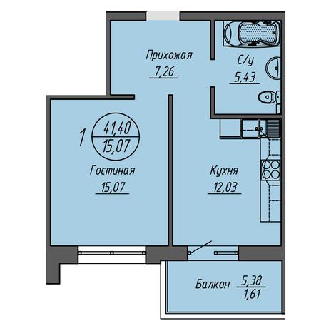 Вариант №3319, 1-комнатная квартира в жилом комплексе