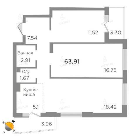 Вариант №1762, 3-комнатная квартира в жилом комплексе