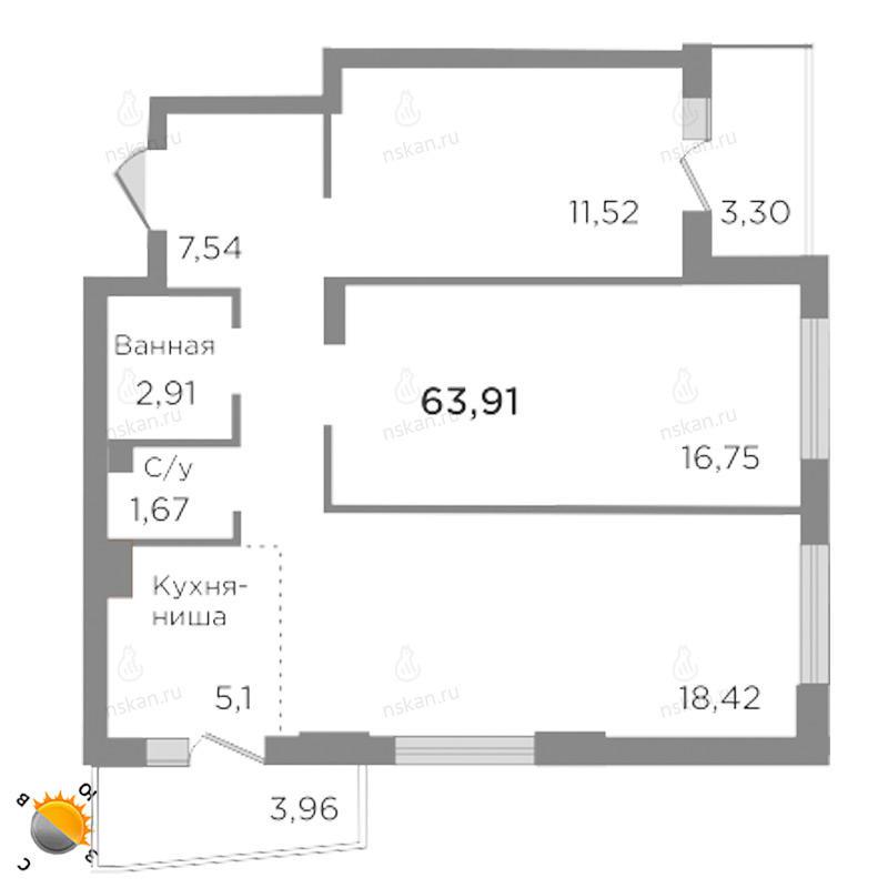 Планировка 3-комн. студия площадью 63.91 м<sup>2</sup> в ЖК Ясный берег