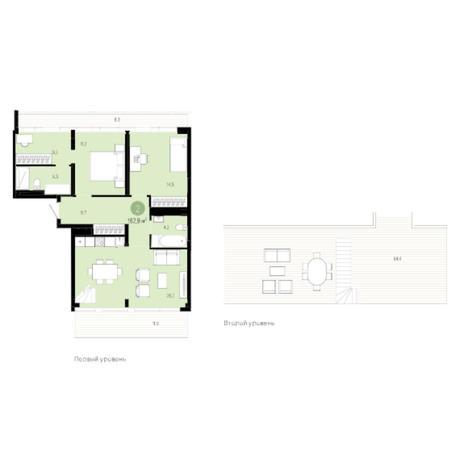 Вариант №6025, 3-комнатная квартира в жилом комплексе