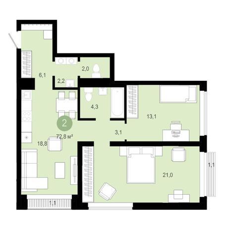 Вариант №4581, 3-комнатная квартира в жилом комплексе Европейский Берег