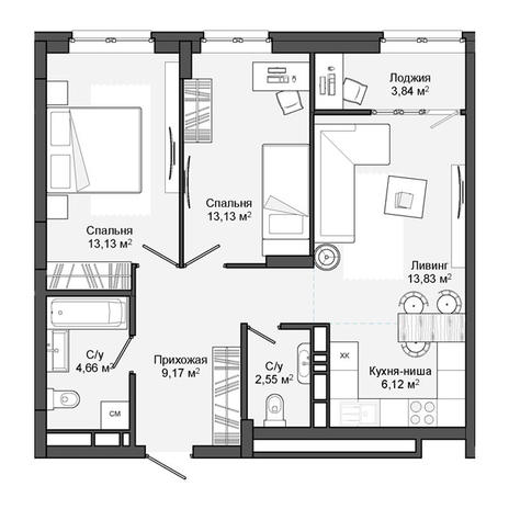 Вариант №3055, 3-комнатная квартира в жилом комплексе
