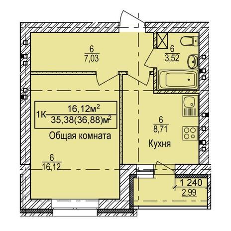 Вариант №5395, 1-комнатная квартира в жилом комплексе