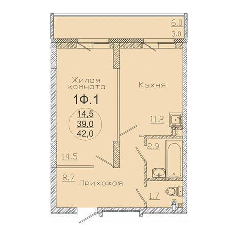Вариант №3494, 1-комнатная квартира в жилом комплексе