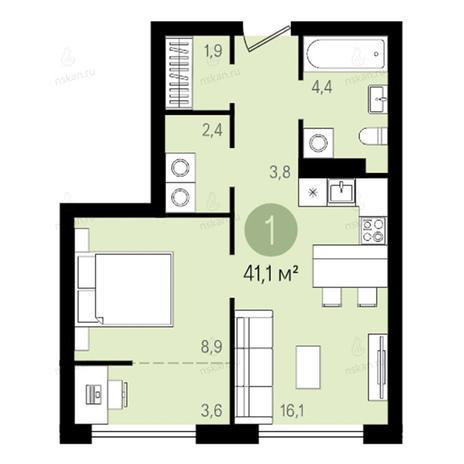 Вариант №2606, 2-комнатная квартира в жилом комплексе Квартал на Никитина