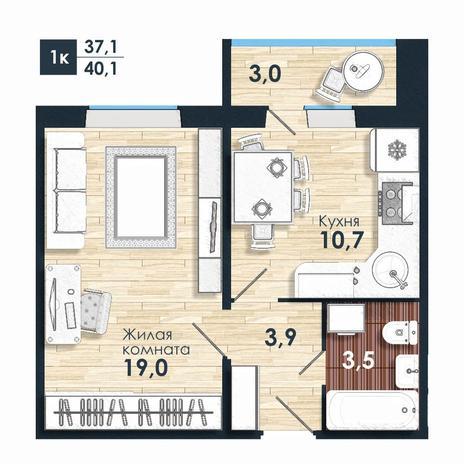 Вариант №5595, 1-комнатная квартира в жилом комплексе