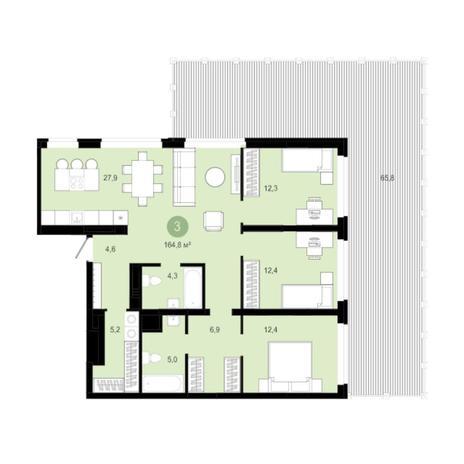 Вариант №5993, 4-комнатная квартира в жилом комплексе