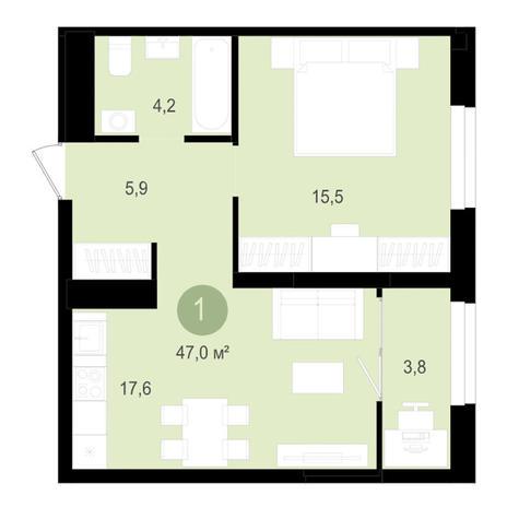 Вариант №3518, 2-комнатная квартира в жилом комплексе Лебедевский