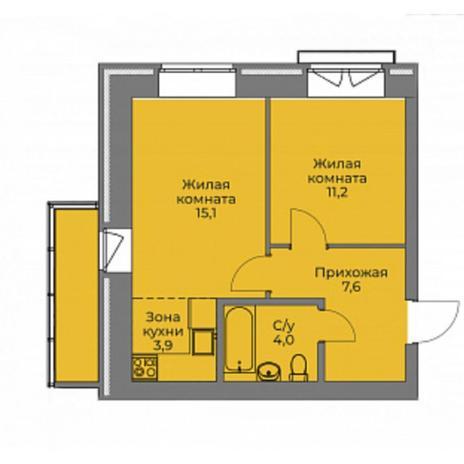 Вариант №4401, 2-комнатная квартира в жилом комплексе Эскимо