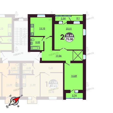 Вариант №413, 2-комнатная квартира в жилом комплексе Ключевой