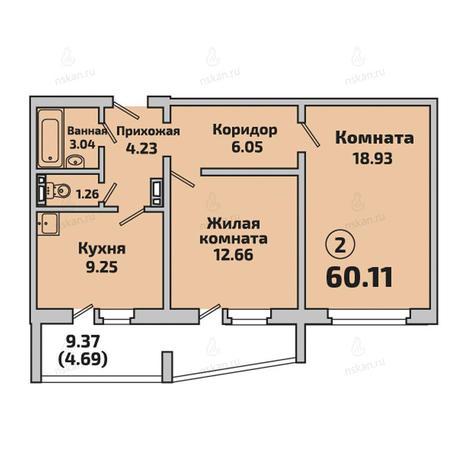 Вариант №2848, 2-комнатная квартира в жилом комплексе