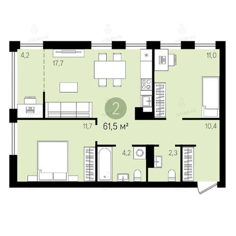 Вариант №2598, 3-комнатная квартира в жилом комплексе Квартал на Никитина