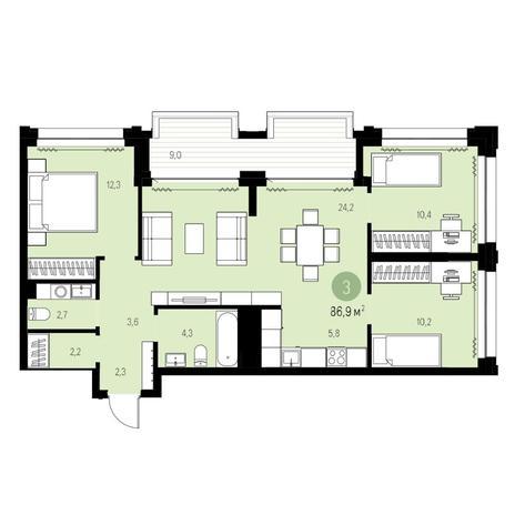 Вариант №5443, 4-комнатная квартира в жилом комплексе Жуковка