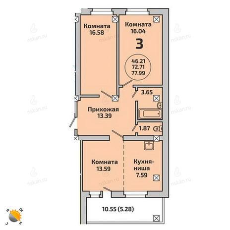 Вариант №1993, 3-комнатная квартира в жилом комплексе Ясный берег