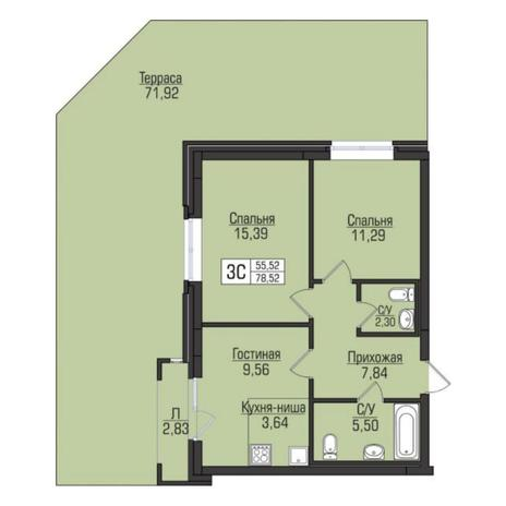 Вариант №5067, 3-комнатная квартира в жилом комплексе Цивилизация