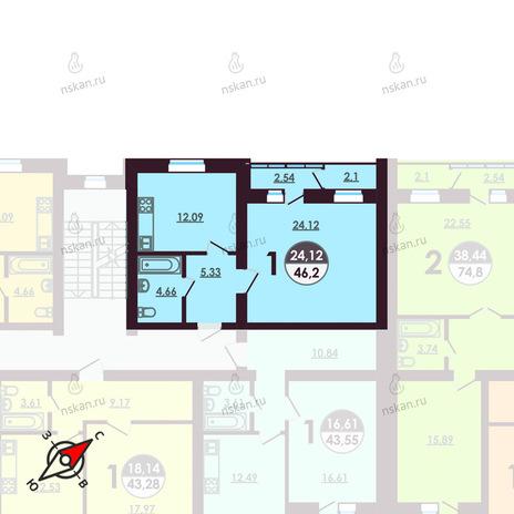 Вариант №411, 1-комнатная квартира в жилом комплексе Ключевой