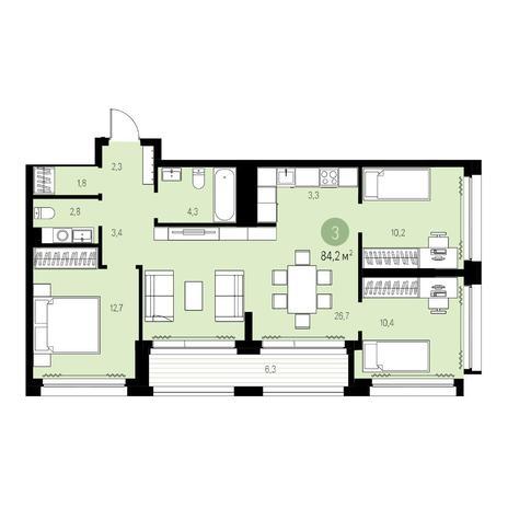Вариант №5463, 4-комнатная квартира в жилом комплексе Жуковка