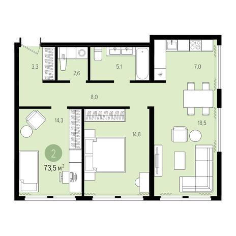 Вариант №5023, 3-комнатная квартира в жилом комплексе Пшеница