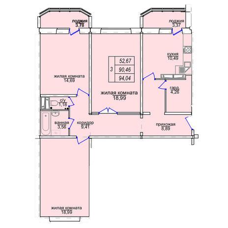 Вариант №3860, 3-комнатная квартира в жилом комплексе Венеция