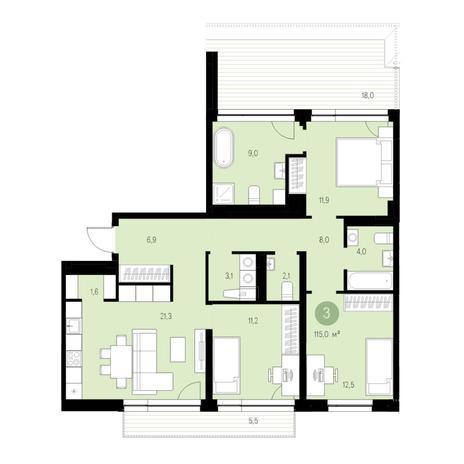 Вариант №4633, 4-комнатная квартира в жилом комплексе Европейский Берег