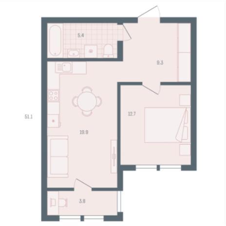 Вариант №5911, 1-комнатная квартира в жилом комплексе
